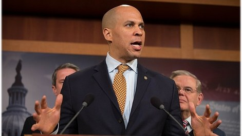 Sen. Booker speaking at a press conference in the U.S. Capitol advocating for passage of flood insurance legislation, March 8th, 2016.
