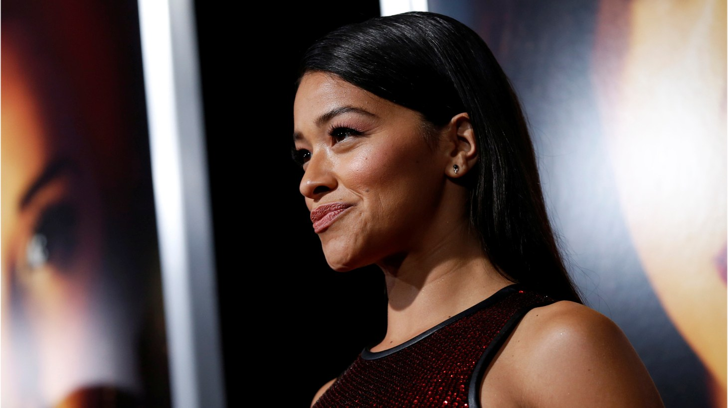 """Gina Rodriguez poses at the premiere for """"Miss Bala"""" in Los Angeles, California, U.S., January 30, 2019."""