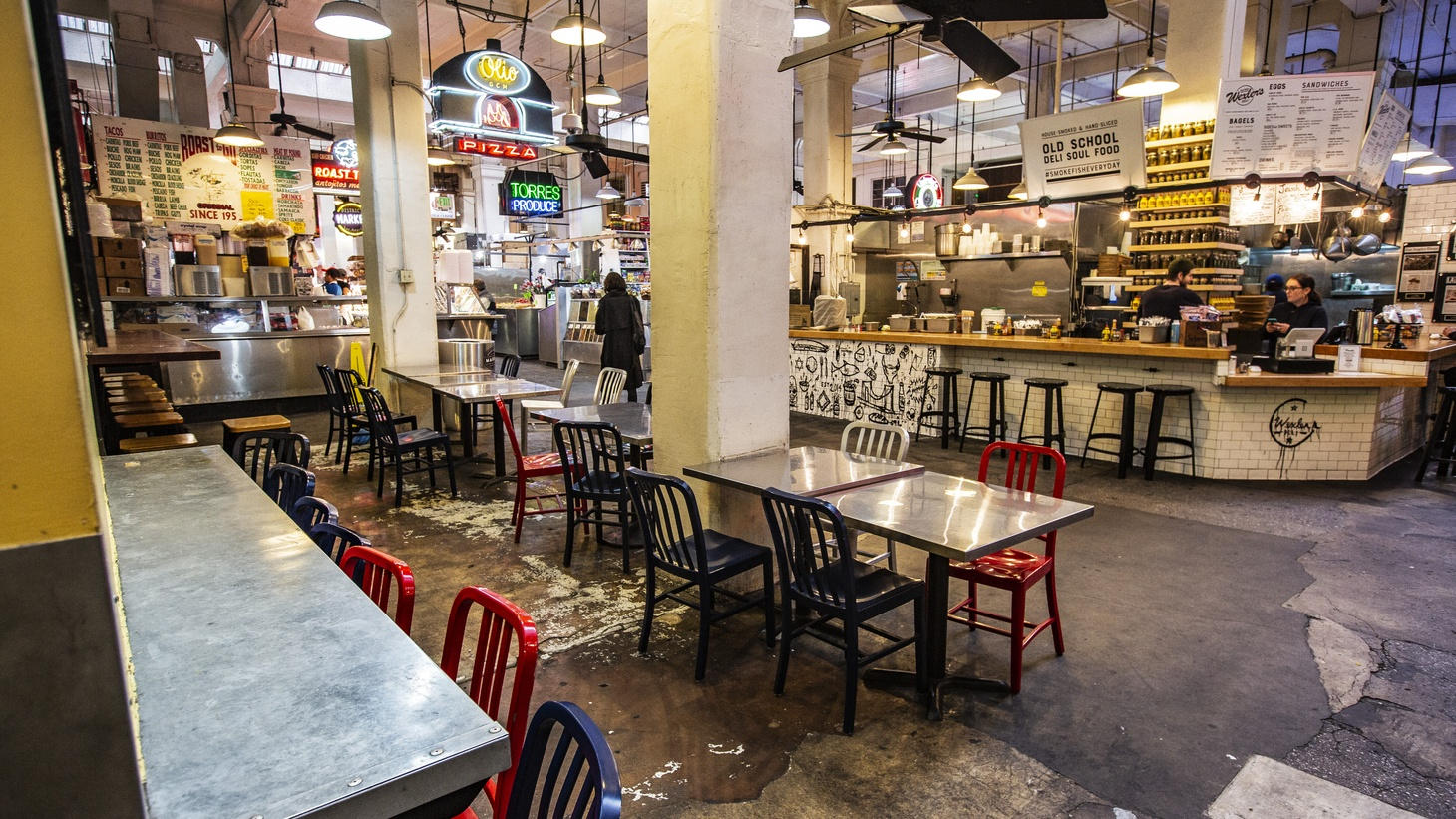 Grand Central Market in downtown LA is largely empty of customers during the COVID-19 pandemic. Gov. Gavin Newsom said this week that the state could face a $54 billion shortfall without federal aid.