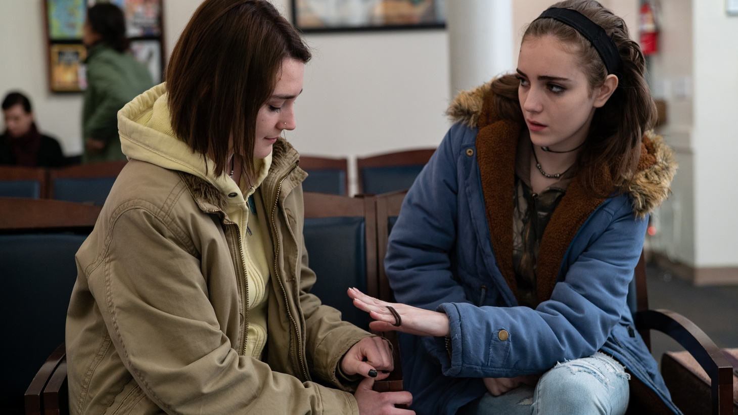 "Sidney Flanigan	stars	as Autumn and Talia Ryder as Skylar in ""Never Rarely Sometimes Always."""
