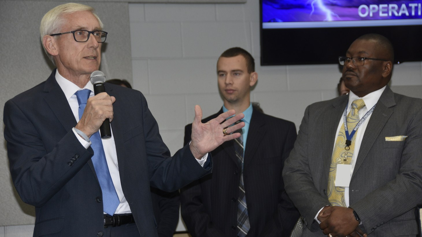 Gov. Tony Evers speaks to officials from Wisconsin Emergency Management, the Wisconsin National Guard, other state agencies, natural gas and electrical utilities, and non-governmental organizations.