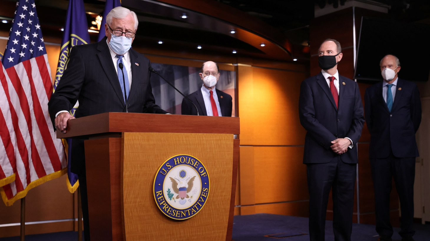 U.S. House Majority Leader Steny Hoyer (D-MD) speaks to reporters as House Democrats respond to a White House briefing on reports Russia paid the Taliban bounties to kill U.S. troops during a news conference in Washington, U.S., June 30, 2020.