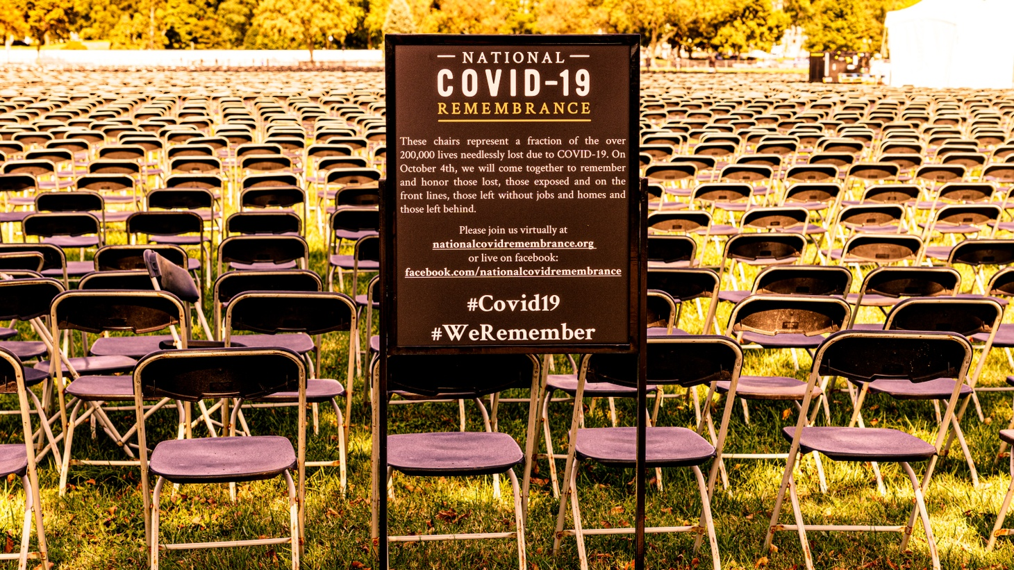 Washington D.C.'s National COVID-19 Remembrance: Chairs represent more than 200,000 lives lost due to COVID-19. October 4, 2020.