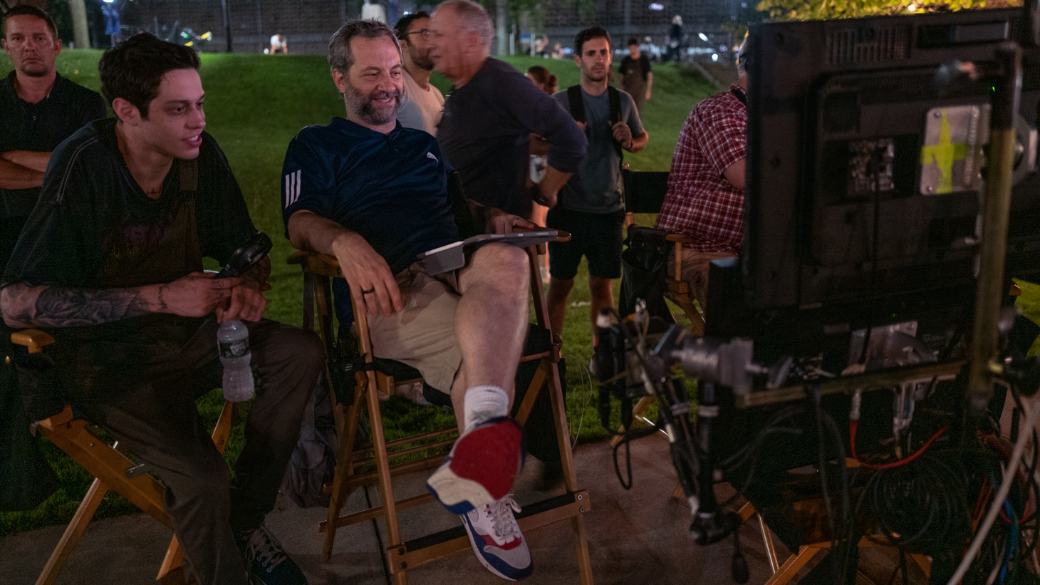 """Judd Apatow on the set of """"The King of Staten Island."""" The film is about a somewhat lost young adult whose firefighter dad died when he was a kid."""