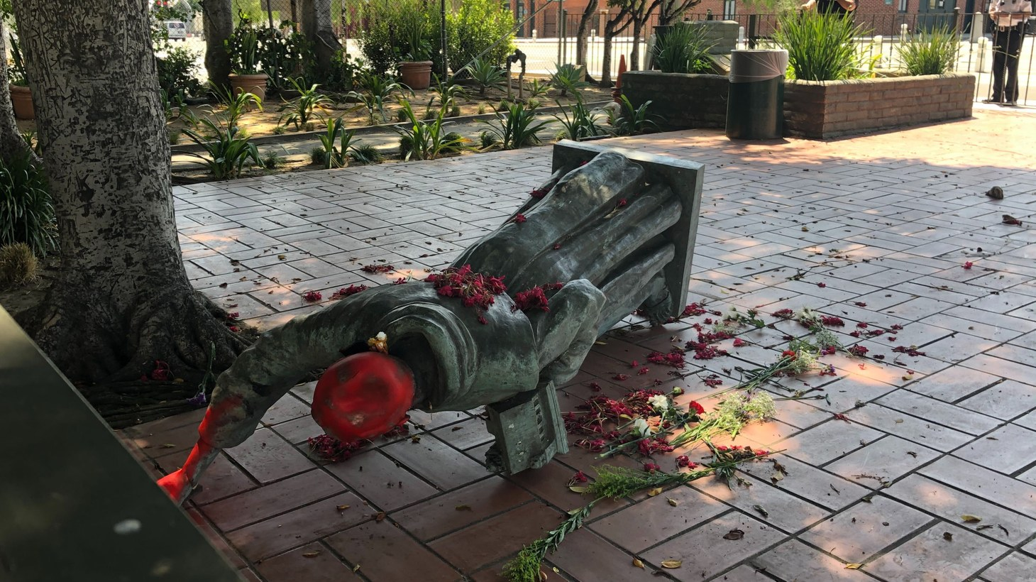 Indigenous activists took to Olvera Street and brought down a statue of Junipero Serra, a Spanish priest from the 18th century.