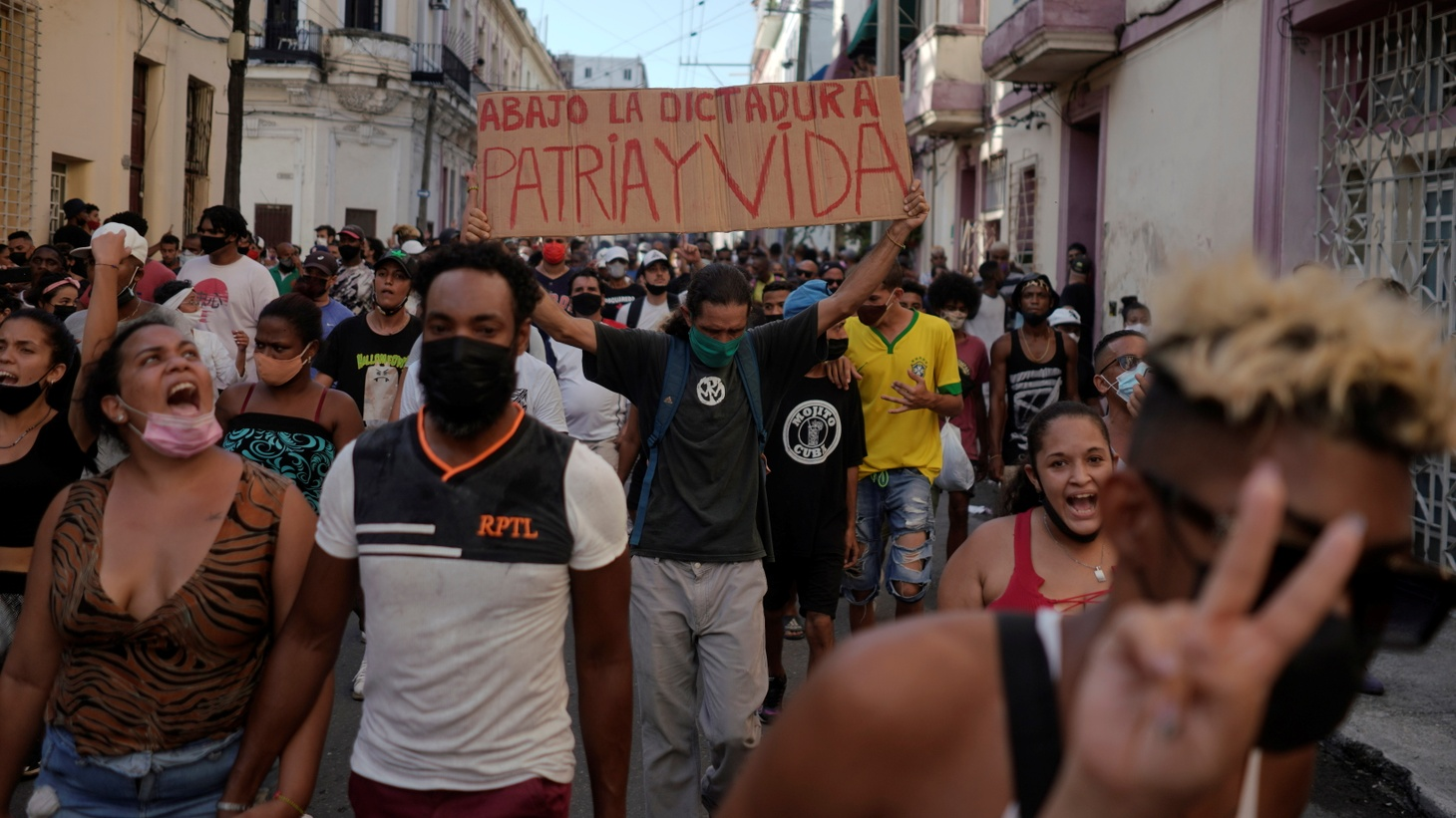 People shout slogans against the government during a protest amidst the coronavirus disease (COVID-19) outbreak, in Havana, Cuba July 11, 2021.
