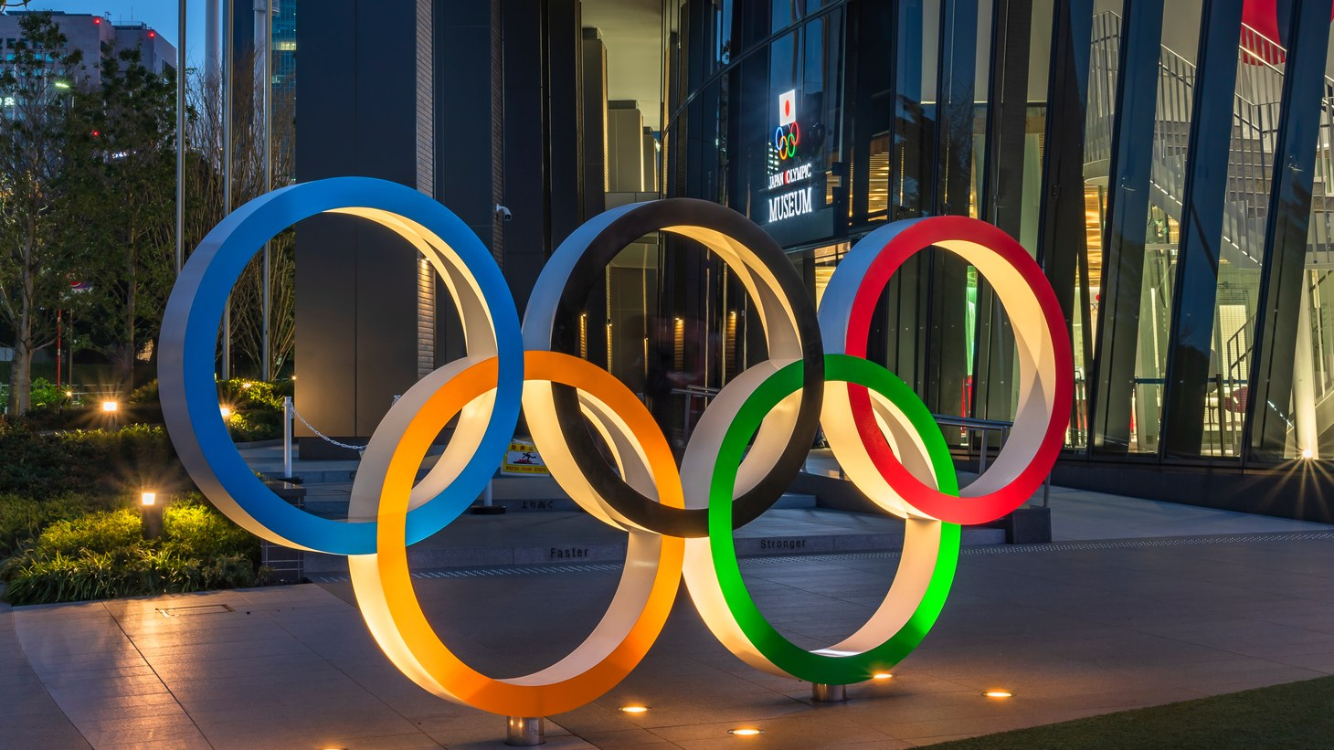The Olympic rings monument sits outside the entrance of the Japan Olympic Museum in Tokyo, Japan, May 5, 2021. The International Olympic Committee is requiring athletes to sign liability waivers and take on all coronavirus-related risks.