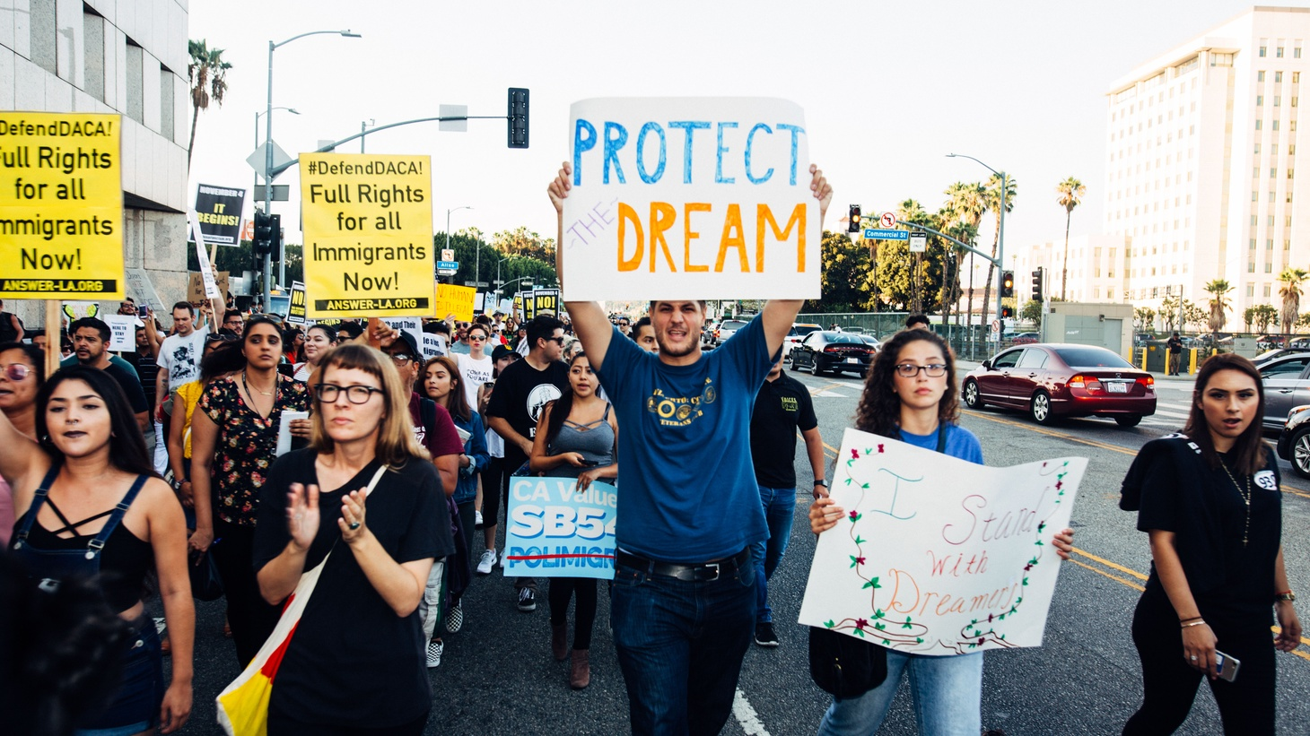 Activists during a Defend DACA rally in Los Angeles, September 5, 2017. Today, June 18, 2020, the Supreme Court ruled that President Trump's decision to end DACA is unlawful.