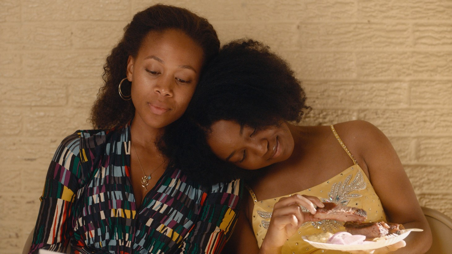 "Nicole Beharie (left) as Turquoise and Alexis Chikaeze (right) as Kai in the drama,""Miss Juneteenth."""
