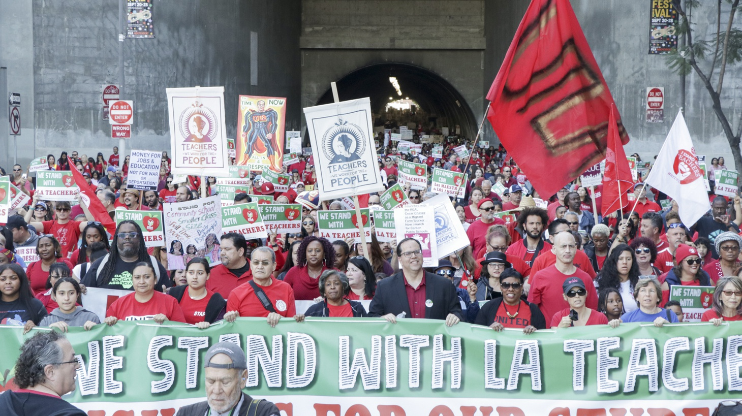 A rally organized by United Teachers Los Angeles.