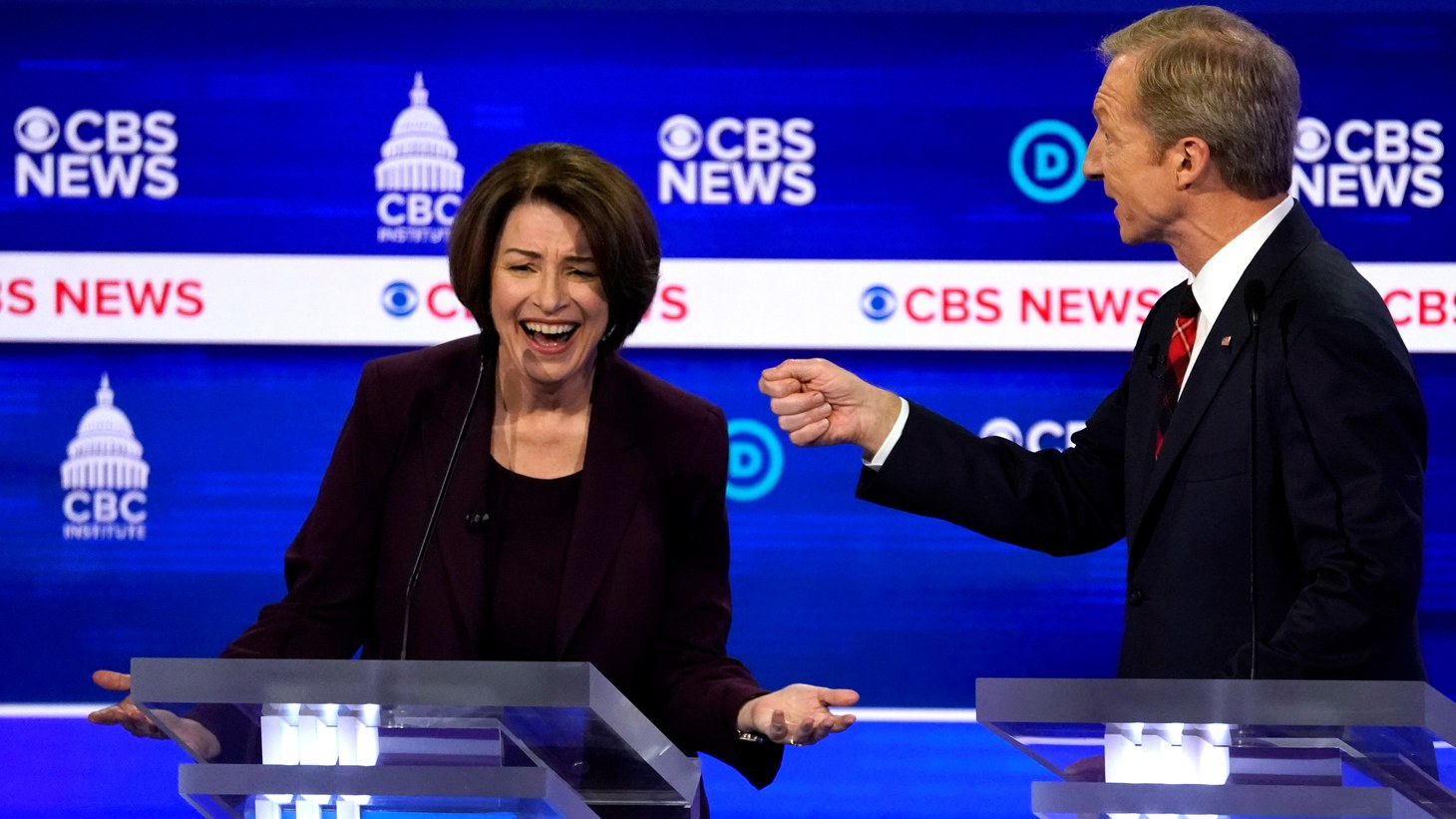 Democratic 2020 U.S. presidential candidates Senator Amy Klobuchar and billionaire activist Tom Steyer debate at the tenth Democratic 2020 presidential debate at the Gaillard Center in Charleston, South Carolina, U.S. February 25, 2020.
