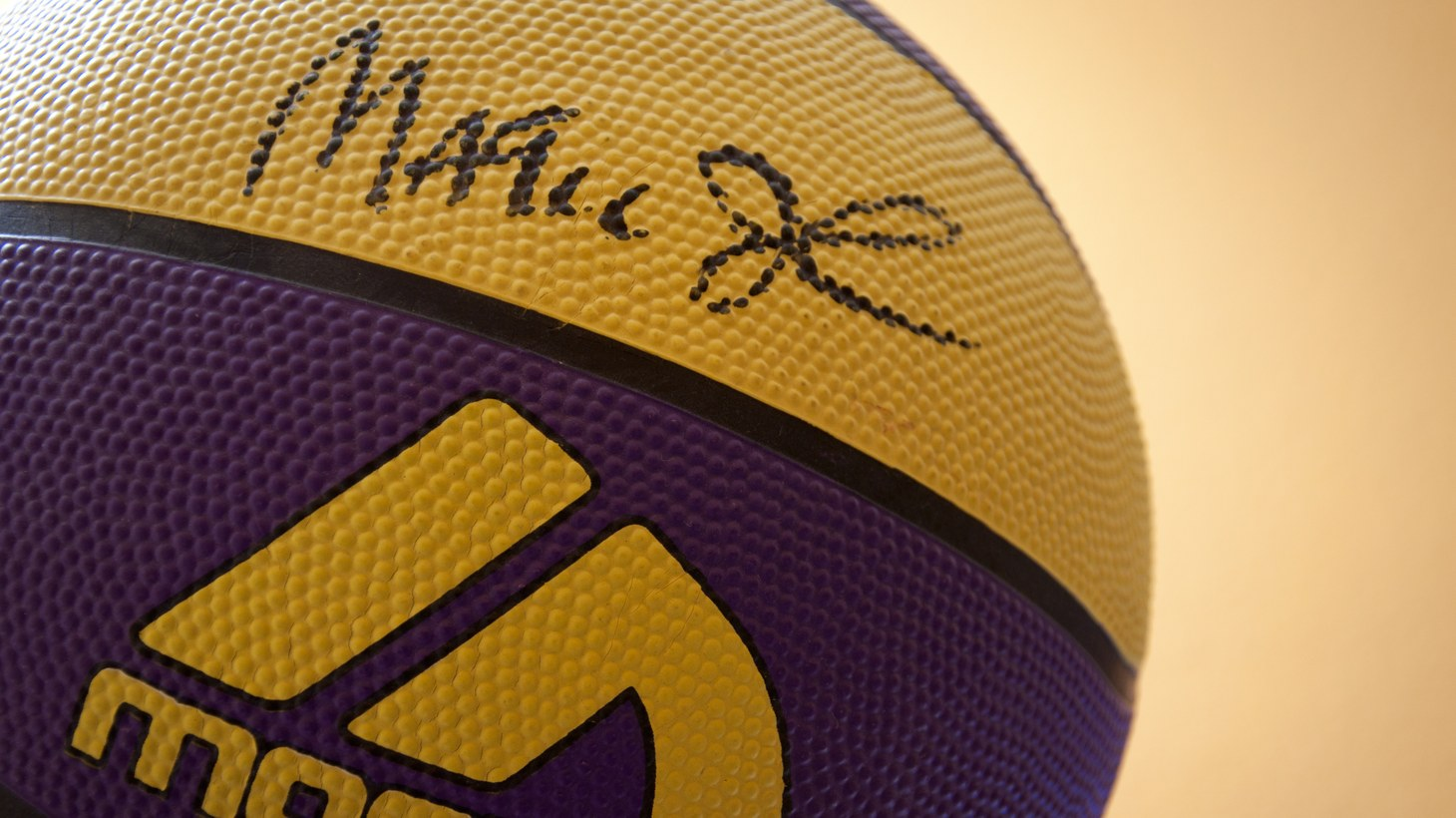 A basketball signed by Magic Johnson