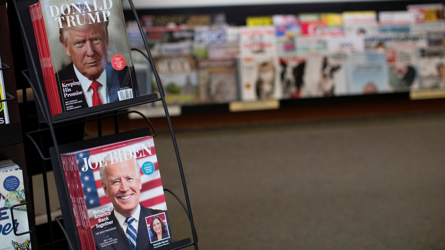 Magazines with Democratic presidential nominee Joe Biden and U.S. President Donald Trump on their covers. Los Angeles, California, U.S., October 21, 2020.