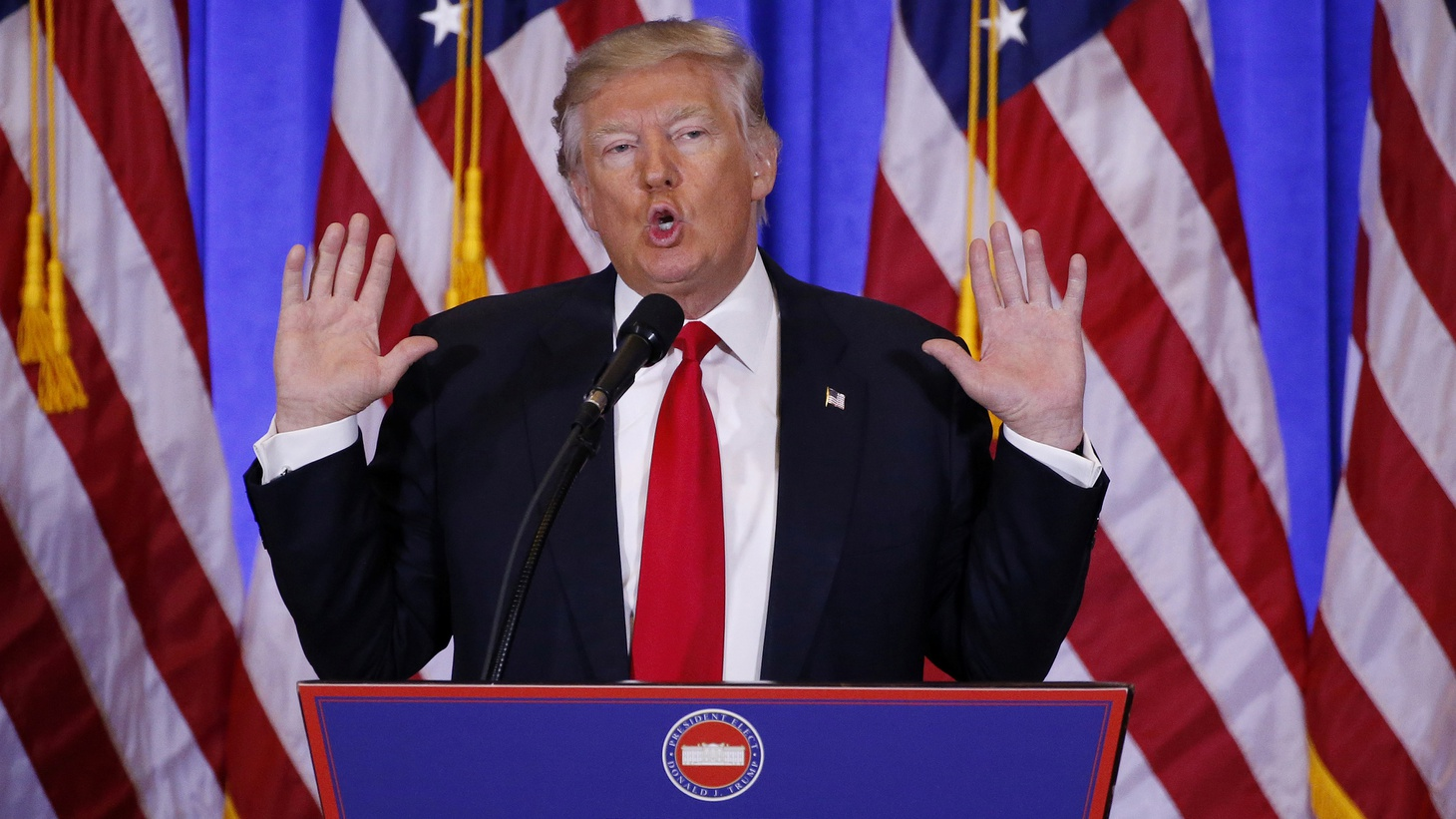 During Donald Trump's first press conference as president-elect, he answered questions about Russia, his business interests, and Obamacare. But the story grabbing all the headlines right now is about a dossier alleging the Russians have dirt on Trump and are blackmailing him with it.