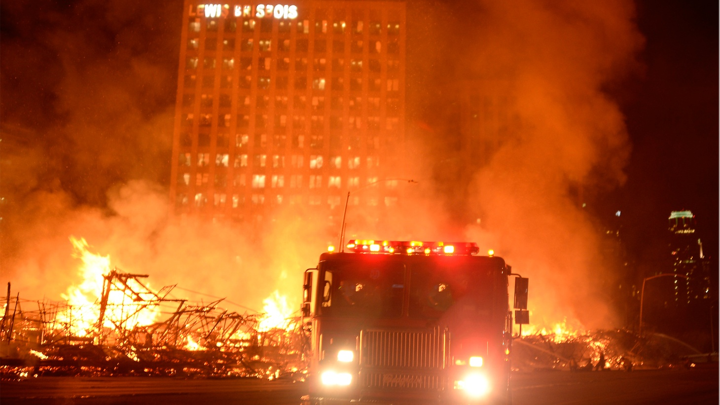 We look at the controversial history of an under-construction apartment complex in downtown L.A. that burned in a huge fire early this morning. Also, what do we know about the last episode ever of Sons of Anarchy?