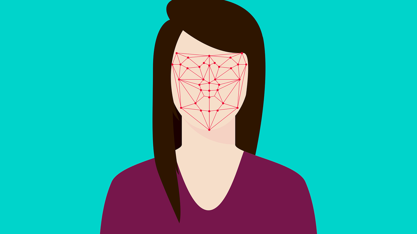Facial recognition graphic.