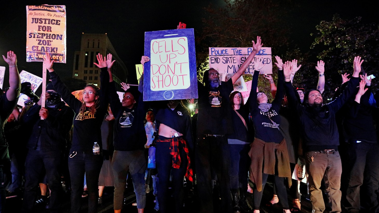 Demonstrators protest the police shooting of Stephon Clark, in Sacramento, California, U.S., March 30, 2018.