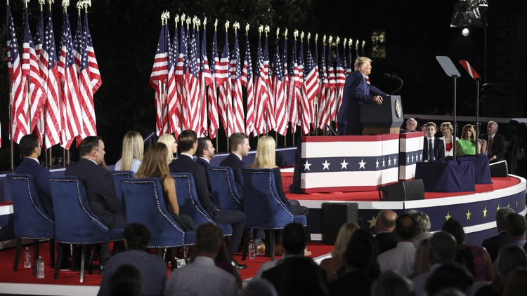 President Trump accepted the Republican nomination for president on Thursday night from the White House grounds, with dozens of American flags behind him.
