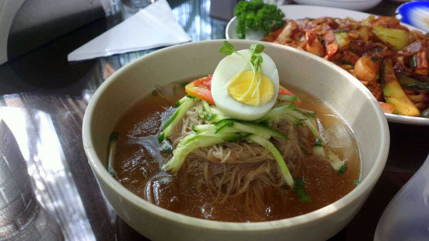 Mul Naengmyeon: Buckwheat noodles in cold broth.