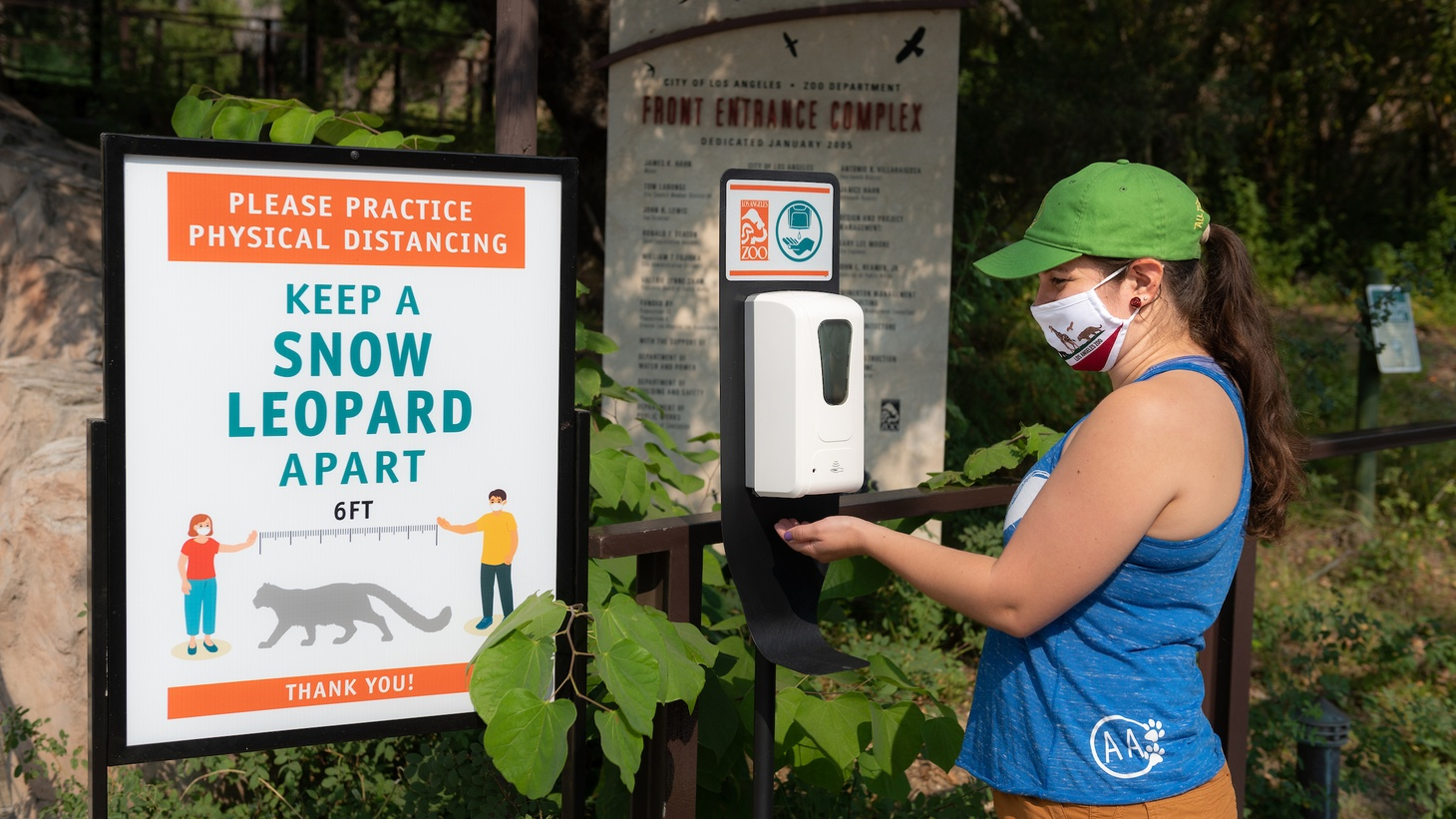 Hand sanitizer dispensers are placed throughout the LA Zoo, which has reopened after more than five months of closure due to coronavirus.