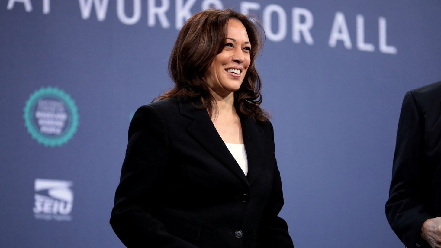 U.S. Senator Kamala Harris speaking with attendees at the 2019 National Forum on Wages and Working People, hosted by the Center for the American Progress Action Fund and the SEIU, at the Enclave in Las Vegas, Nevada.