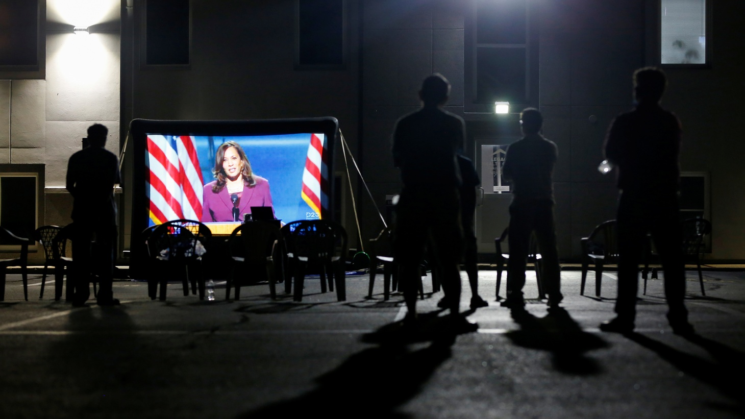 Members of a South Asian community in Edison, New Jersey watch vice presidential candidate Kamala Harris speak at the Democratic National Convention. The DNC was a virtual event due to the coronavirus outbreak. August 19, 2020.