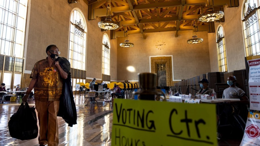 Voters cast their ballots at Union Station in downtown Los Angeles over Halloween weekend.