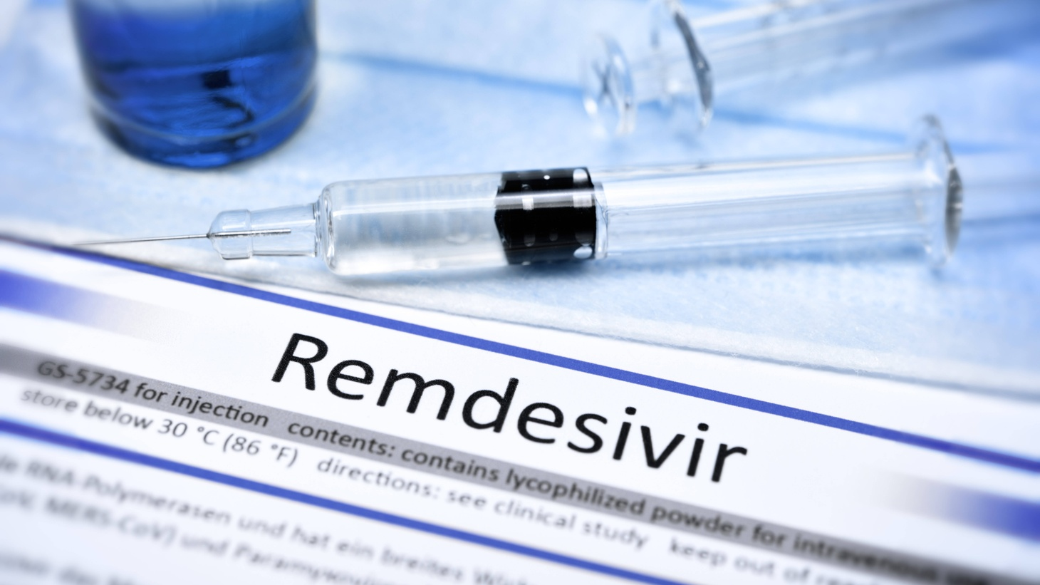 A Syringe and Remdesivir label. Last week, the U.S. FDA approved Remdesivir as a treatment for COVID-19, but a new World Health Organization study showed that it had no effect on COVID-19 deaths or recovery time.