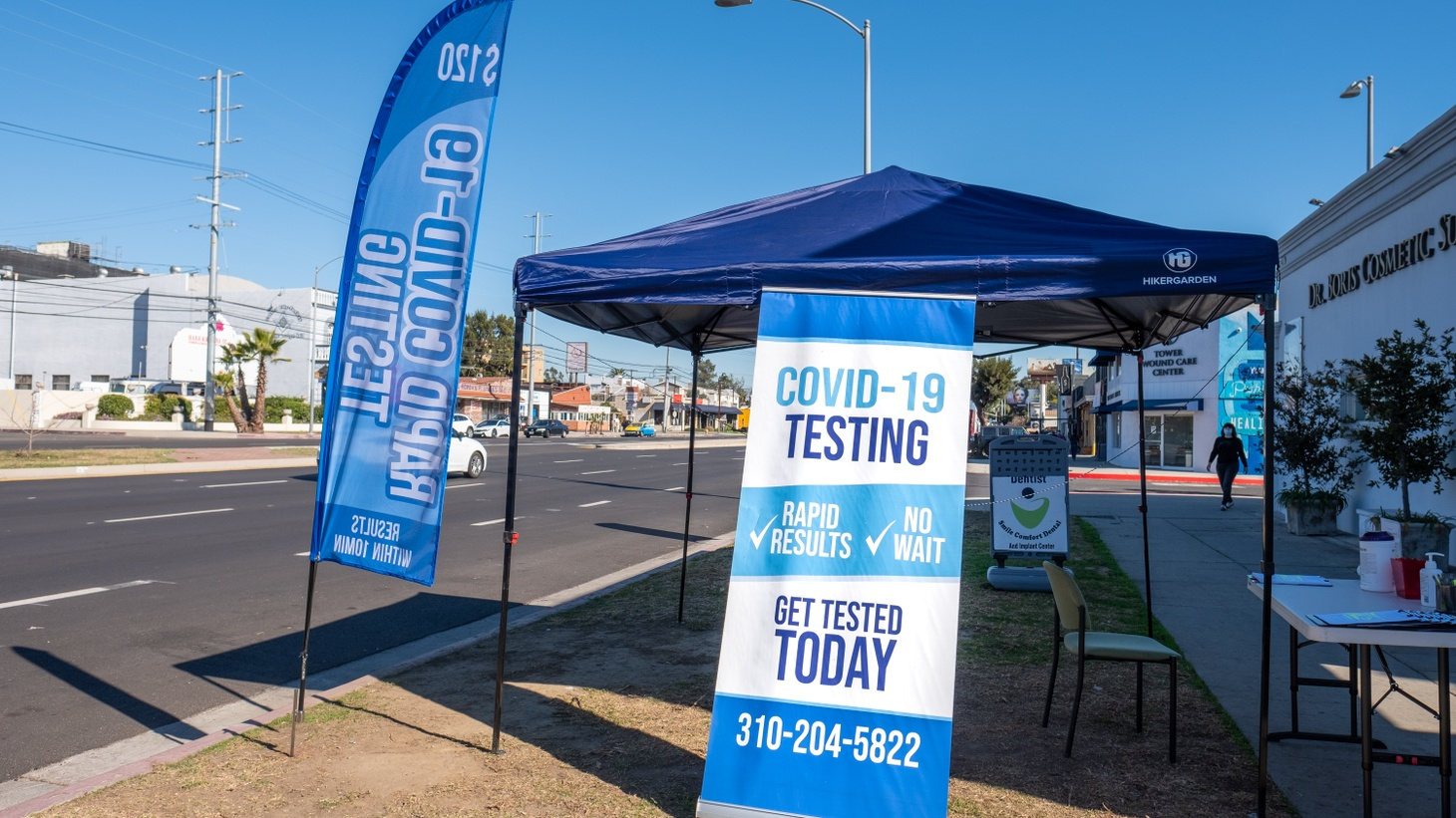 A new coronavirus testing site advertises rapid results and no wait, Culver City, California. January 21, 2021.