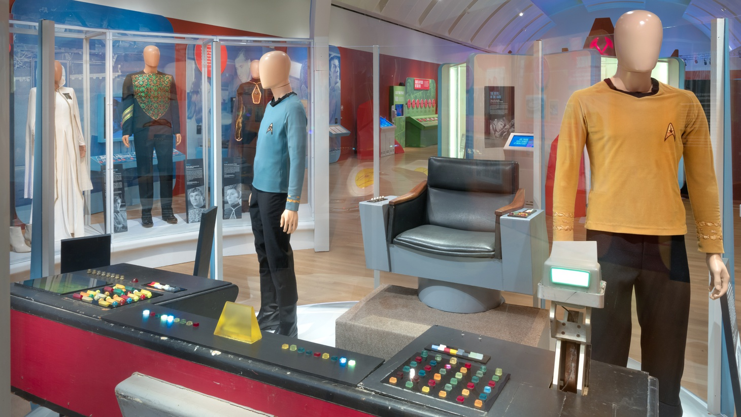 """""""Star Trek: Exploring New Worlds"""" includes set pieces and props from the series, including Captain Kirk's chair, a tunic worn by Spock in one of the """"Star Trek"""" films, and the main navigation console from the bridge of the USS Enterprise."""
