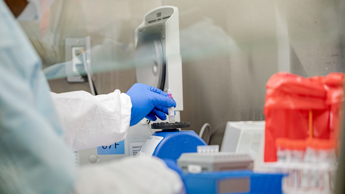 Pennsylvania Commonwealth microbiologist Kerry Pollard performs a manual extraction of the coronavirus at the Pennsylvania Department of Health Bureau of Laboratories on Friday, March 6, 2020.