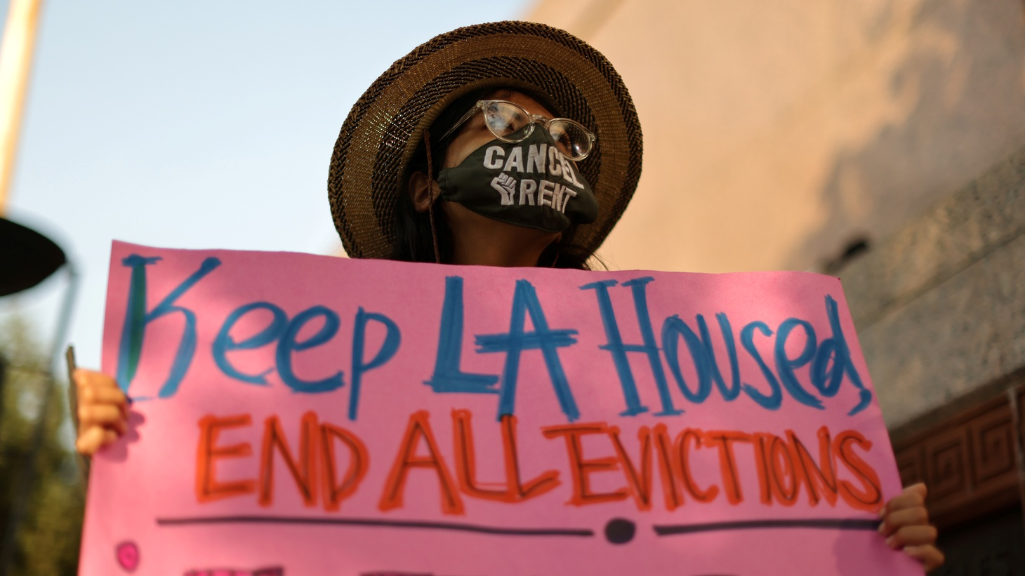 Protesters surrounded LA Superior Court, calling on Governor Gavin Newsom to pass an eviction moratorium amid the global outbreak of coronavirus disease (COVID-19) in Los Angeles, California, U.S., August 21, 2020. In January 2021, Newsom extended California's eviction moratorium through June.