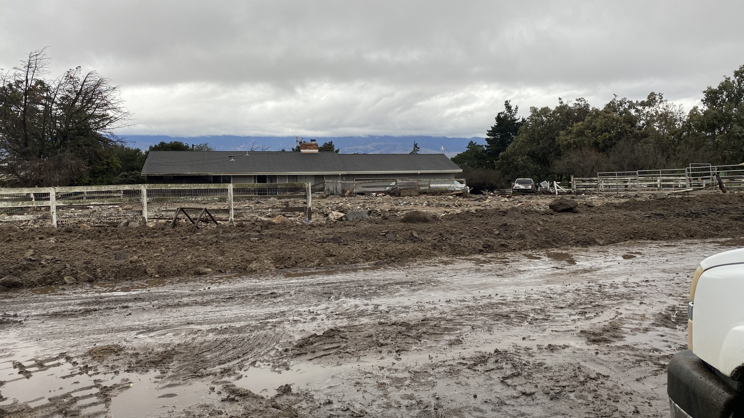 A view of a Salinas Valley neighborhood affected by mudslides, January 27, 2021.