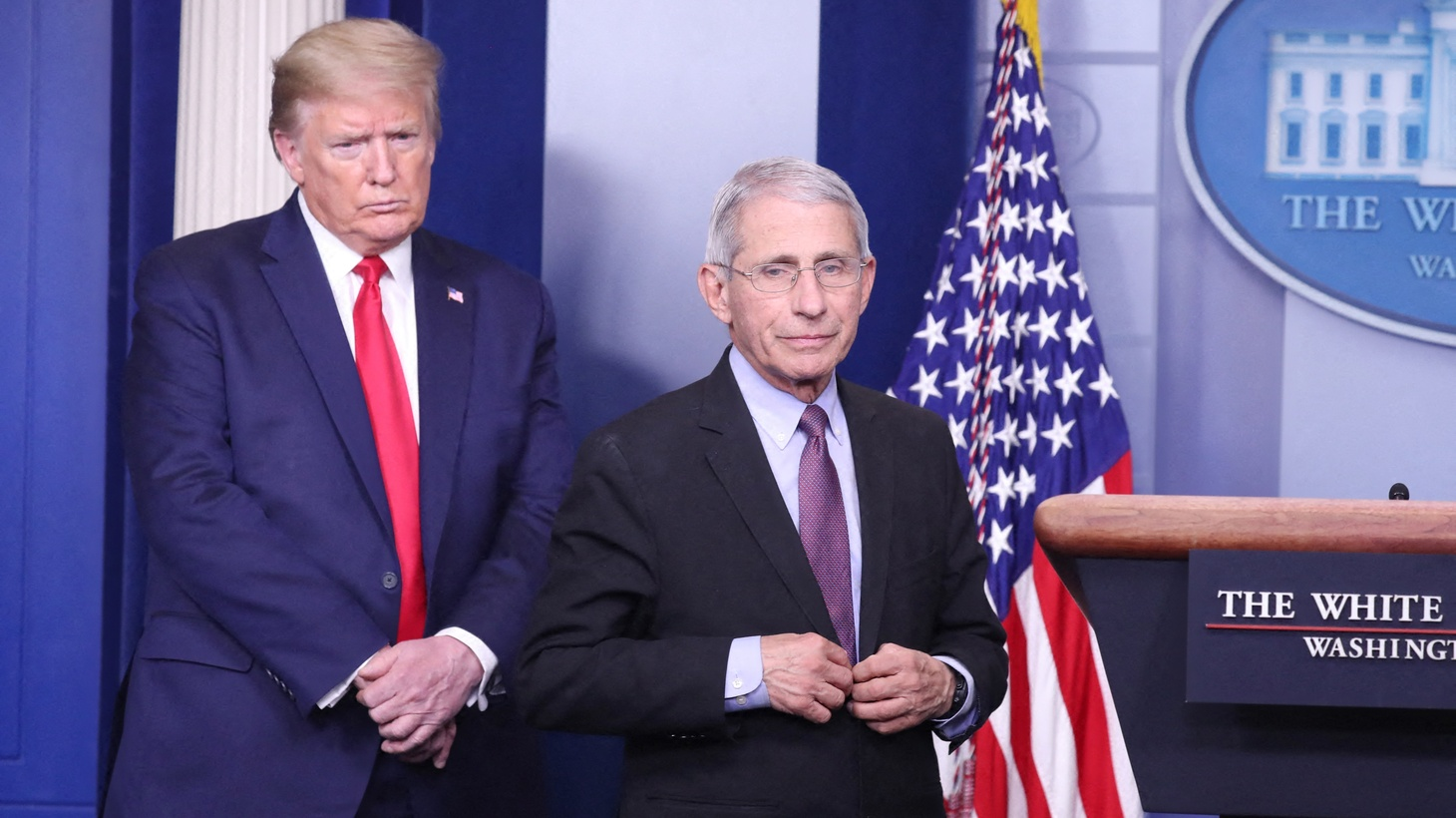 U.S. President Donald J. Trump and Dr. Anthony Fauci deliver remarks on the COVID-19 pandemic at the White House in Washington, DC, USA, April 22, 2020.