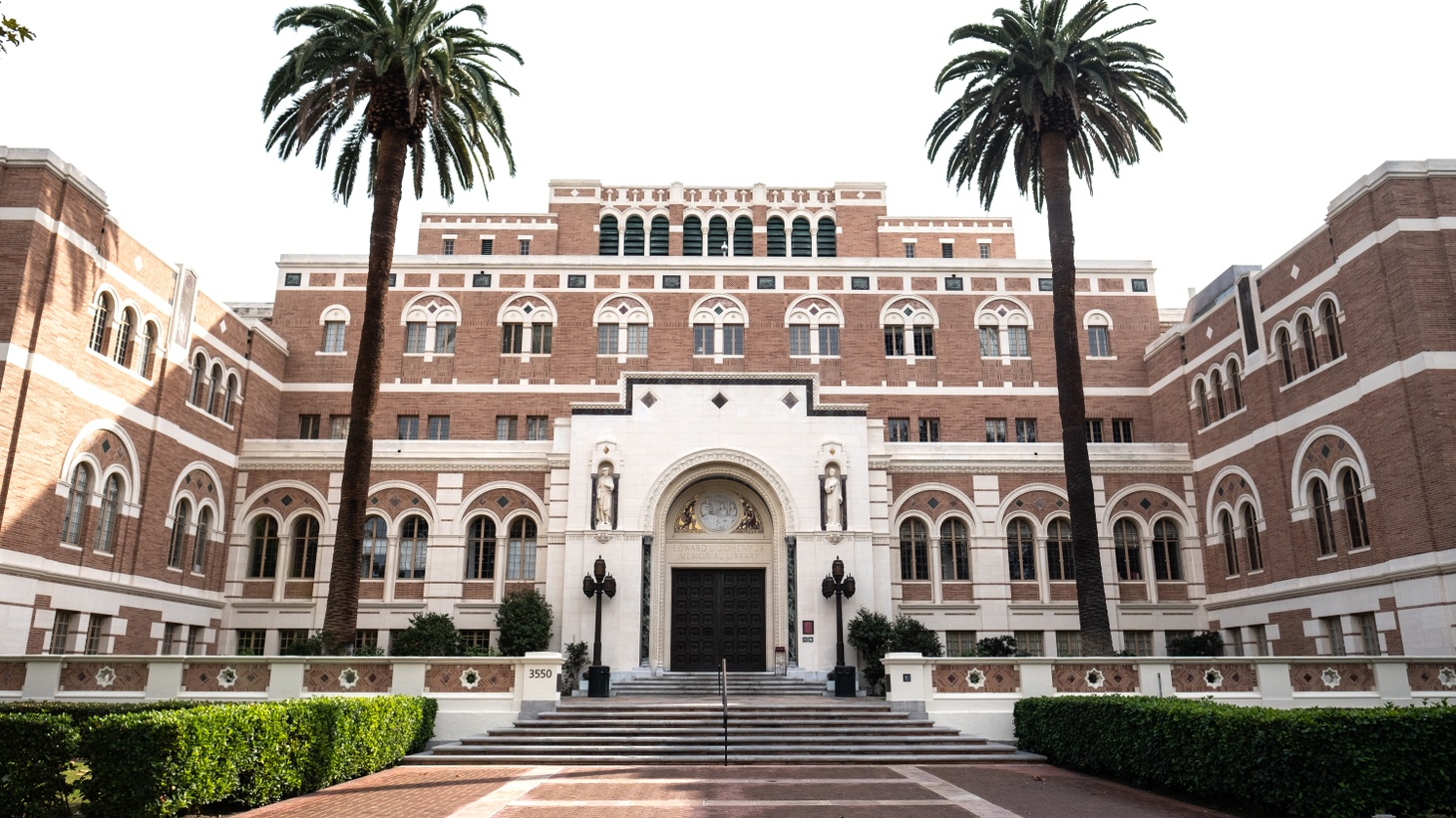 The Edward Doheny Jr. Memorial Library at USC. California is suing the Trump administration's decision to deny visas to foreign students if they don't attend in-person college classes this fall.