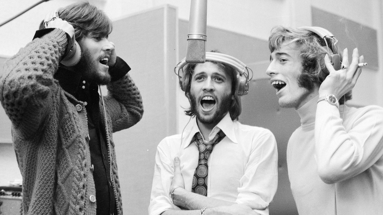 (L to R) Barry Gibb, Maurice Gibb, and Robin Gibb were reunited in the recording studio together at Soho London September 3, 1970.