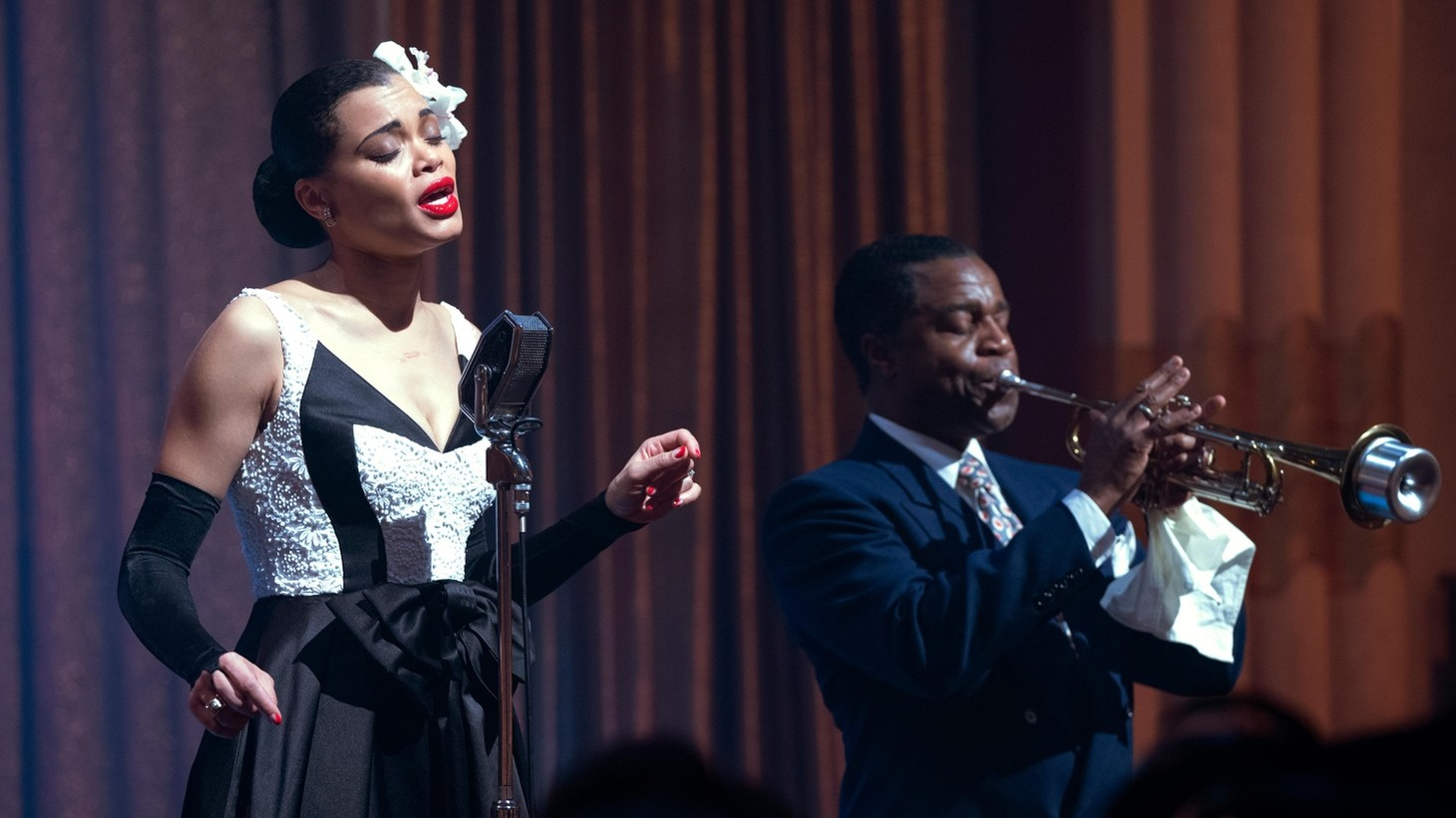 "Billie Holiday (Andra Day) and Louis Armstrong (Kevin Hanchard) in ""The United States vs. Billie Holiday."""