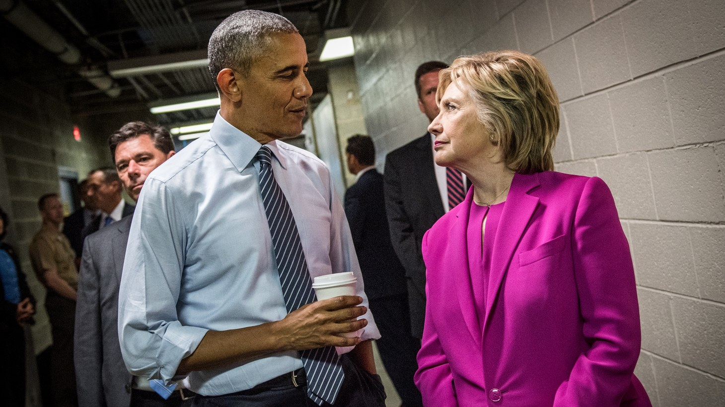 """Barack Obama and Hillary Clinton in the documentary series """"Hillary."""""""