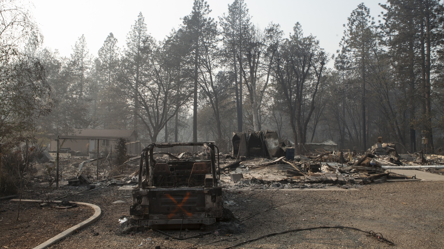 Damage is seen in a Paradise, California, neighborhood, Nov. 17, 2018, near where soldiers from the California Army National Guard's 649th Engineer Company, 579th Engineer Battalion, 49th Military Police Brigade, conducted debris clearing operations in support of state agencies conducting search operations days after the Camp Fire overran the town.