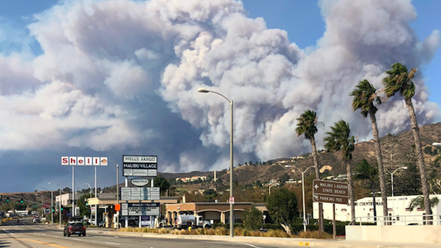 Malibu has been evacuated and parts of the Pacific Coast Highway and the 101 freeway have been shut down. As the Woolsey Fire burns closer to the sea, we have the latest, and speak with a woman who escaped at 2 am.