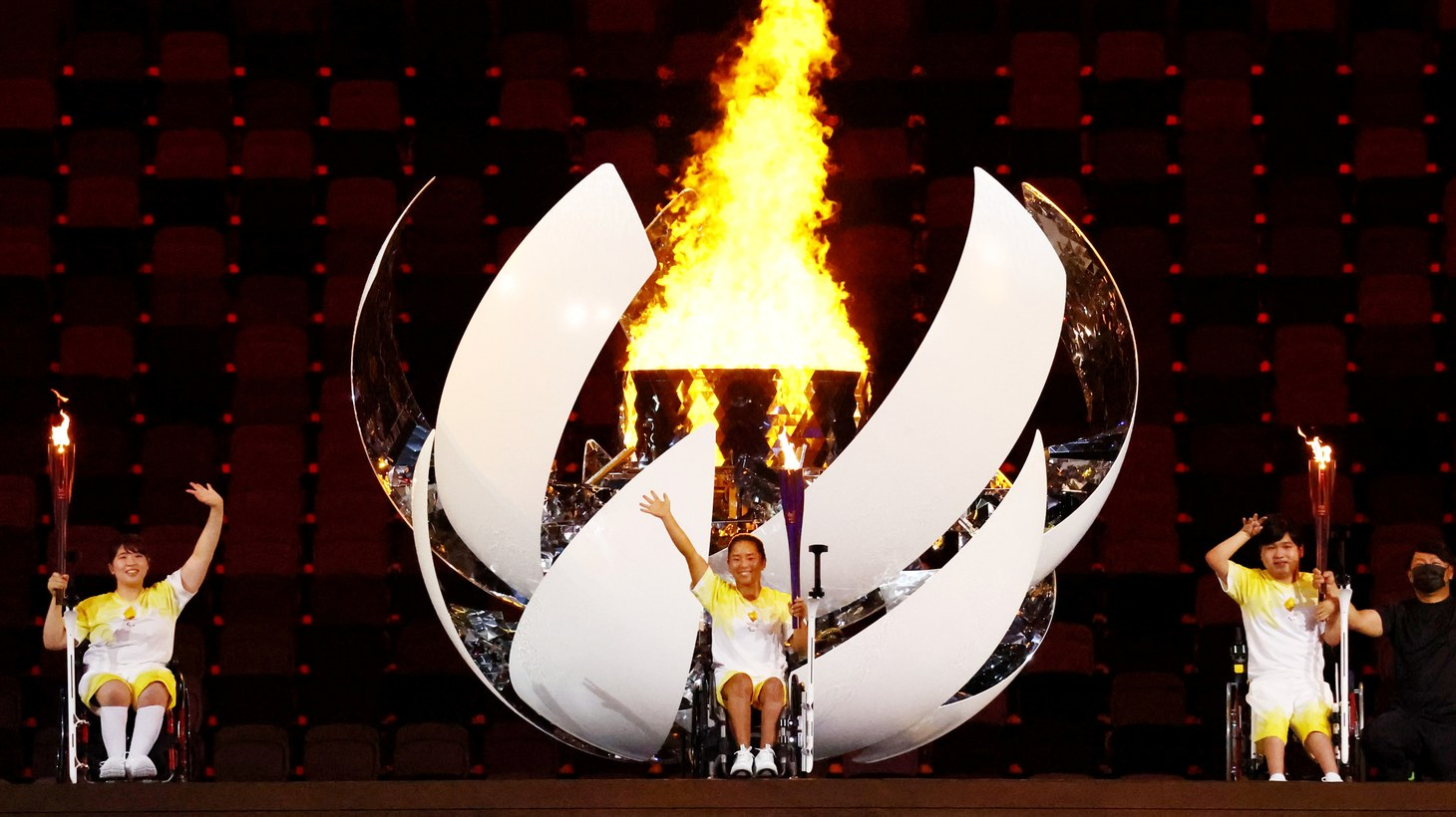 The cauldron is lit during the opening ceremony of the Paralympic Games in Tokyo, Japan, August 24, 2021.