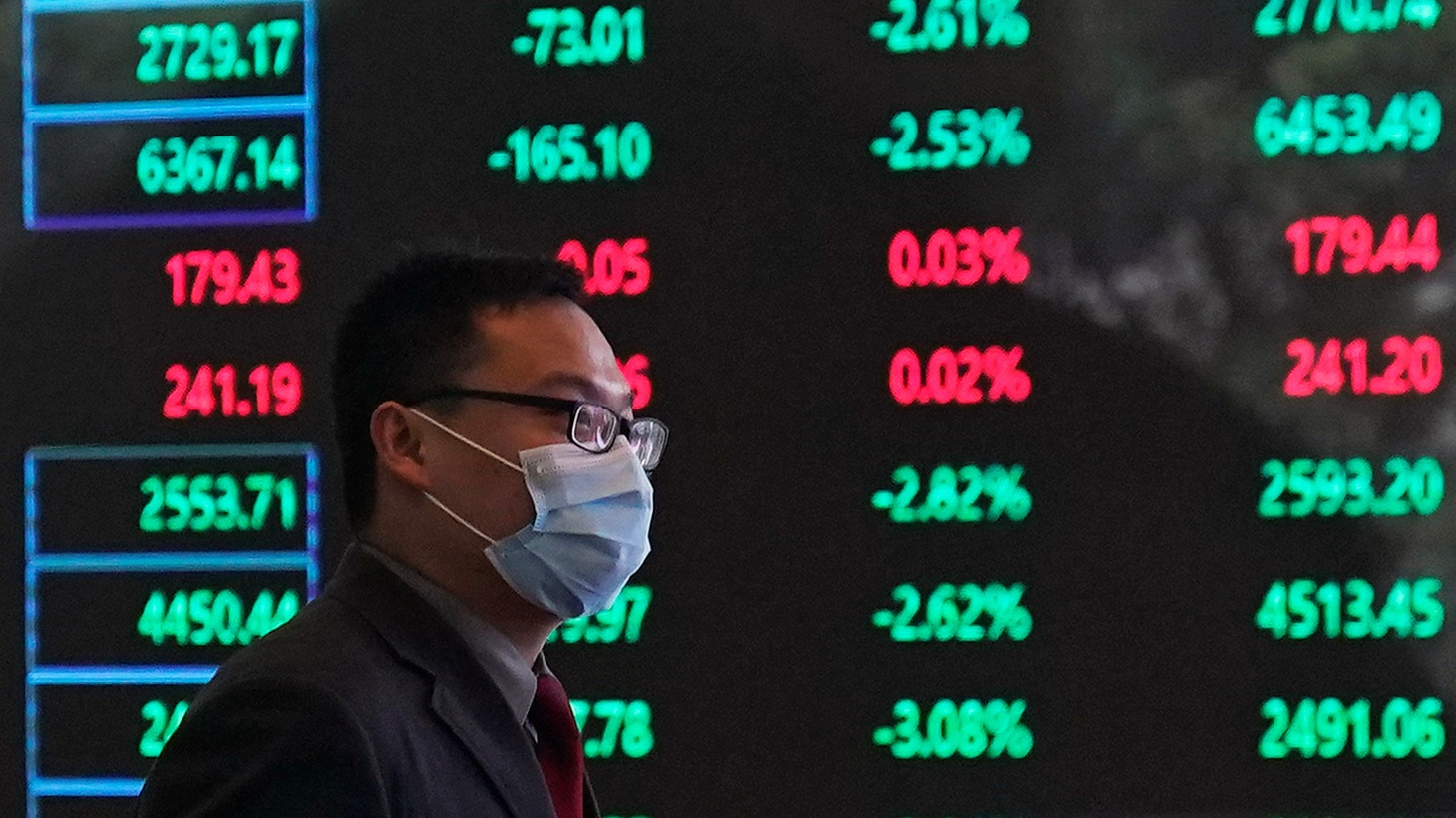 A man wearing a protective mask is seen inside the Shanghai Stock Exchange building, as the country is hit by a new coronavirus outbreak, at the Pudong financial district in Shanghai, China February 28, 2020.