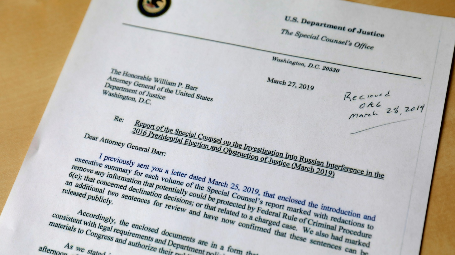 A copy of a letter sent by Special Counsel Robert Mueller on March 27, 2019, to U.S. Attorney General William Barr regarding the Report of the Special Counsel on the Investigation Into Russian Interference in the 2016 Presidential Election and Obstruction of Justice, is seen in New York, U.S., May 1, 2019.