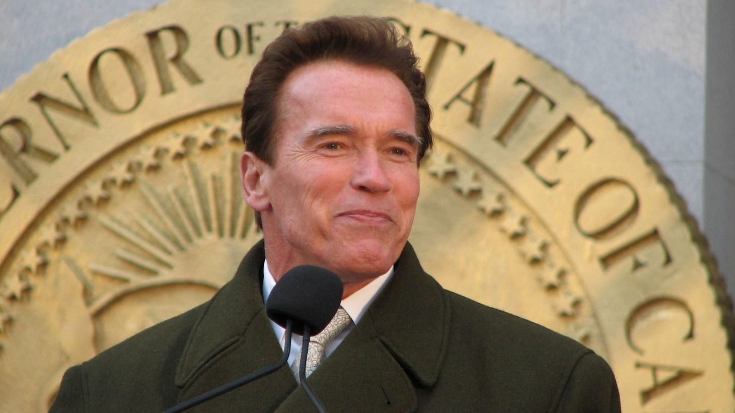 Arnold Schwarzenegger speaking at the lighting of the menorah at the California capitol building in Sacramento, 2012.