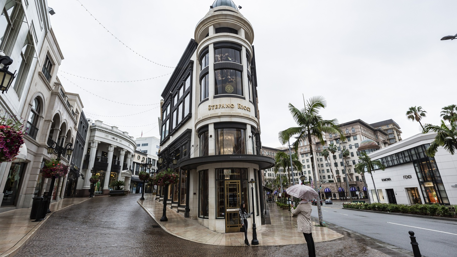 Rodeo Drive in Beverly Hills is empty of shoppers as stay-at-home orders have been in effect for a month.
