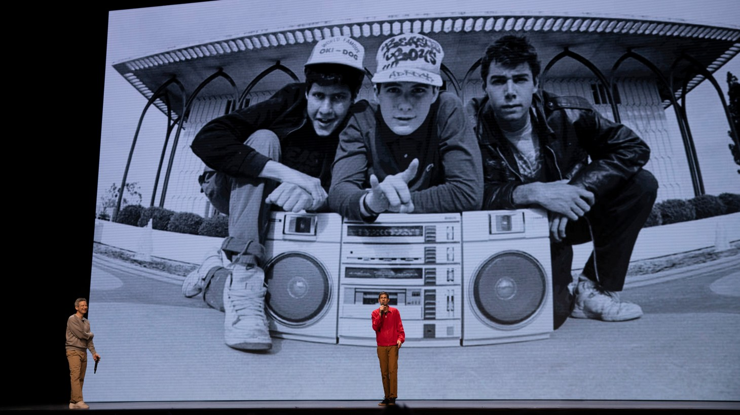 """Adam Horovitz and Mike Diamond in """"Beastie Boys Story,"""" a documentary premiering on Apple TV+ on April 24."""