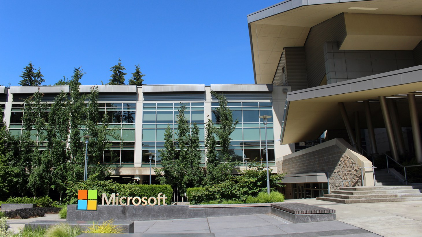 Building 92 at Microsoft Corporation headquarters in Redmond, Washington, 2016.