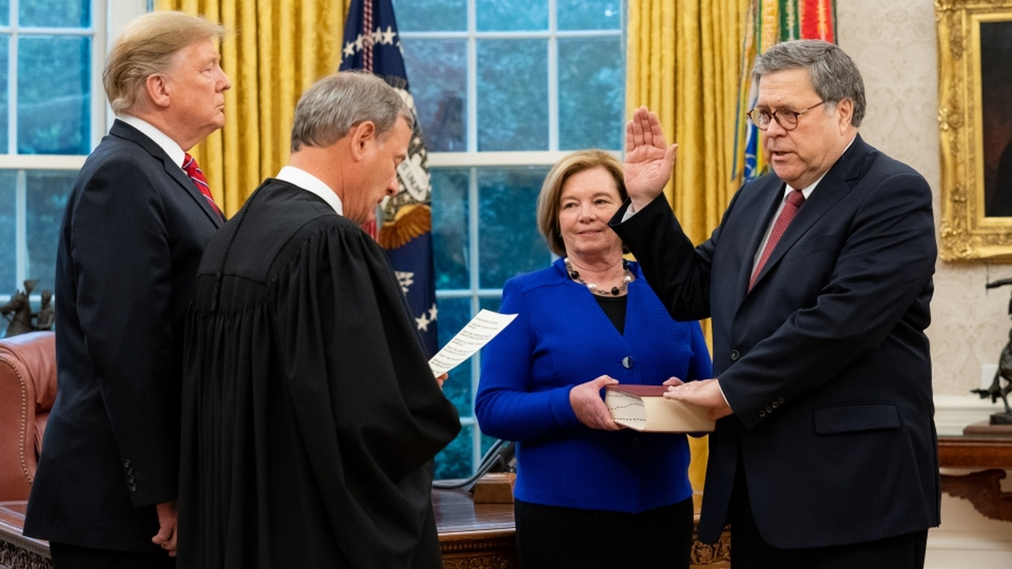 William P. Barr is sworn in as the 85th Attorney General of the United States, February 14, 2019.