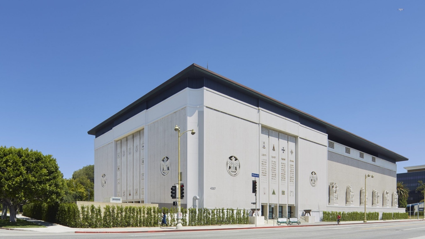 The Marciano Art Foundation was housed in the former Scottish Rite Masonic Temple designed by Millard Sheets in 1961.