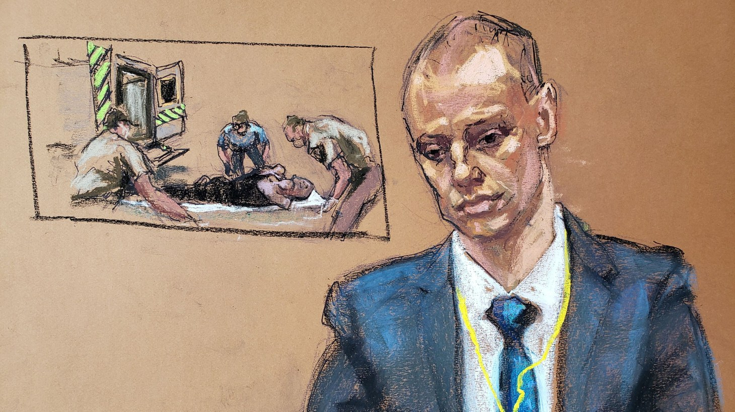 In this courtroom sketch, paramedic Zachary Bravinder answers questions as a video taken of an ambulance crew treating George Floyd during his May 25, 2020 arrest plays on a screen, on the fourth day of the trial of former Minneapolis police officer Derek Chauvin for second-degree murder, third-degree murder and second-degree manslaughter in the death of George Floyd in Minneapolis, Minnesota, U.S. April 1, 2021.
